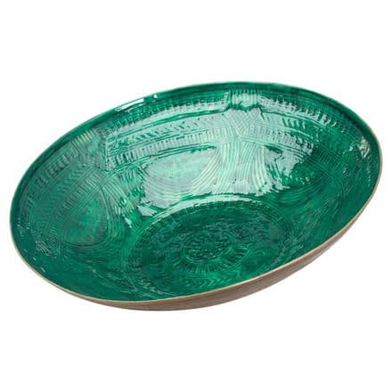 Aztec Collection Brass Embossed Ceramic Dipped Bowl